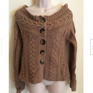 Old Navy Women's Cable Sweater Wool Blend Tan